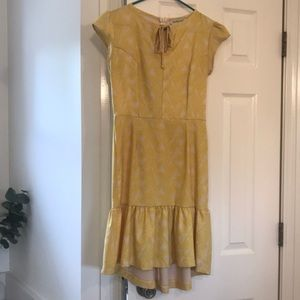 Vintage style yellow and soft white dress